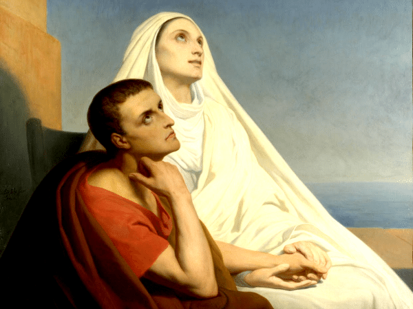 Painting of Augustine of Hippo and his mother Monica of Hippo