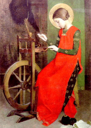 St Elizabeth of Hungary Spinning for the Poor by Marianne Stokes (1855–1927)