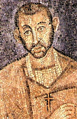 Late antique mosaic of Saint Ambrose in the church St. Ambrose in Milan