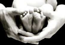 Baby Feet in Hands on Black by Christine Szeto