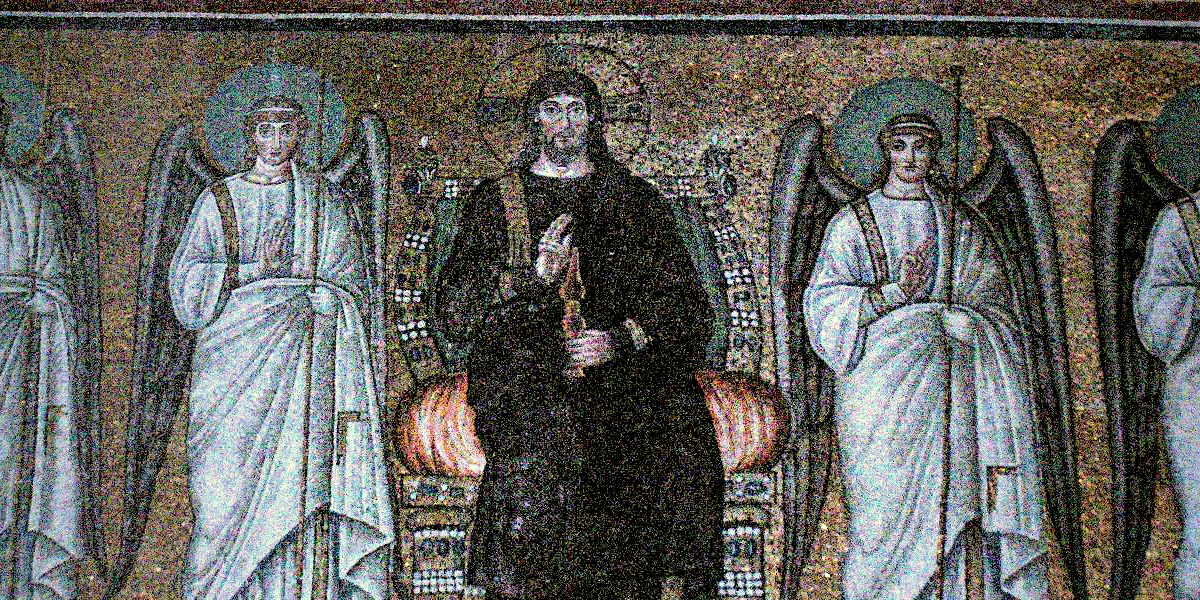 Basilica of Sant'Apollinare Nuovo - Ravenna, Italy - The enthroned Christ with four angels - 526 AD