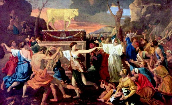 The Adoration of the Golden Calf by Nicolas Poussin (1633–1634)
