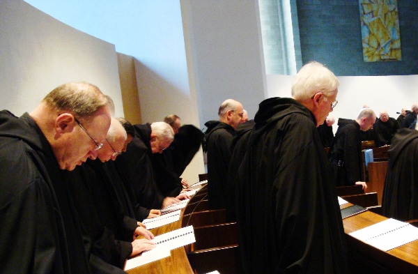 Roman Catholic monks of the Order of Saint Benedict singing Vespers on Holy Saturday at St. Mary's Abbey in Morristown, New Jersey by John Stephen Dwyer (2009)