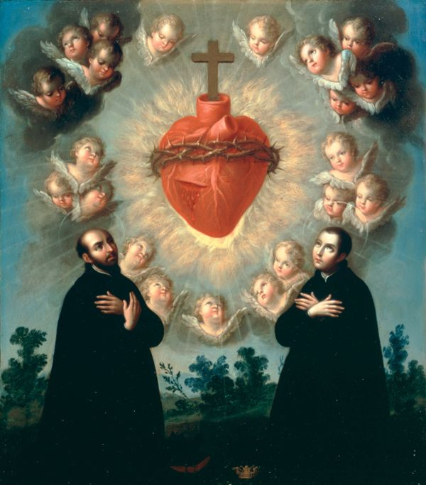 Sacred Heart of Jesus with Saint Ignatius of Loyola and Saint Aloysius Gonzaga by José de Páez (c. 1770)