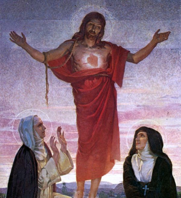 Sacred Heart Being Adored by Bl. Mary of the Divine Heart and St. Margaret Mary Alacoque by Corrado Mezzana (1922)